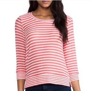 Splendid Coral Pink Deco Stripe Crewneck Sweater